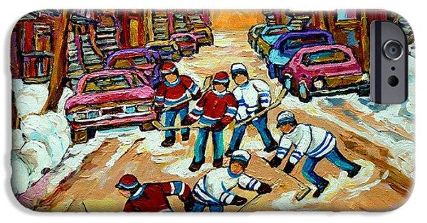 Hockey Paintings iPhone Cases - Pointe St.charles Hockey Game Winter Street Scenes Paintings iPhone Case by Carole Spandau