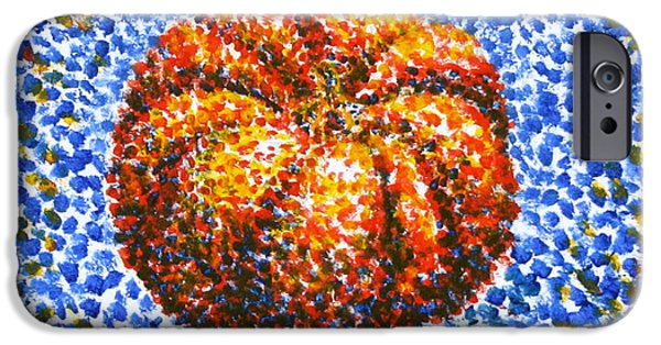 Best Sellers -  - Nature Study Paintings iPhone Cases - Pointillism Pumpkin iPhone Case by Samantha Geernaert