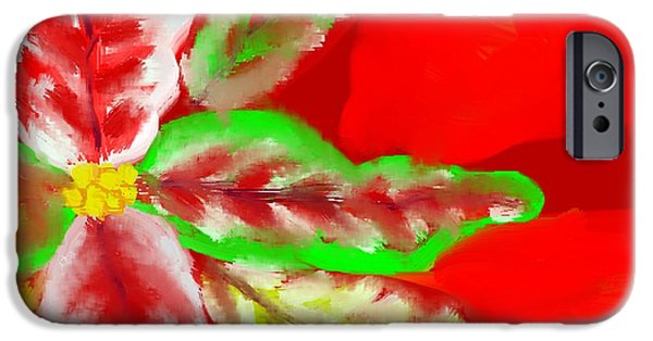 Abstract Digital Art Drawings iPhone Cases - Pointsettia iPhone Case by Doris Culverhouse