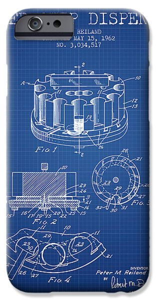 Chip iPhone Cases - Poker Chip Dispenser Patent from 1962 - Blueprint iPhone Case by Aged Pixel