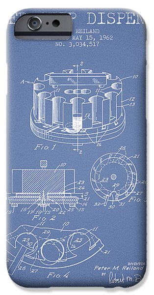 Chip iPhone Cases - Poker Chip Dispenser Patent from 1962 - Light Blue iPhone Case by Aged Pixel