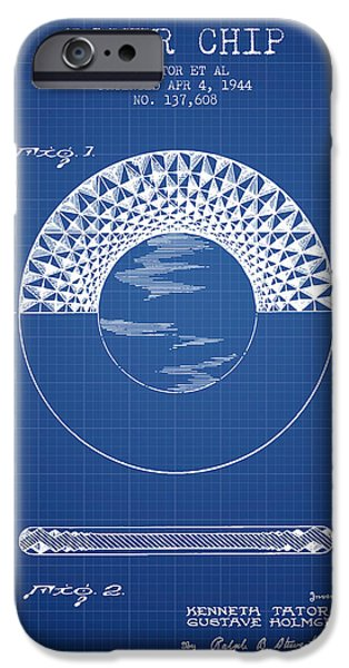 Chip iPhone Cases - Poker Chip Patent from 1944 - Blueprint iPhone Case by Aged Pixel