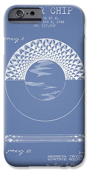 Chip iPhone Cases - Poker Chip Patent from 1944 - Light Blue iPhone Case by Aged Pixel