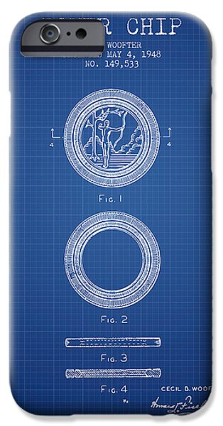 Chip iPhone Cases - Poker Chip Patent from 1948 - Blueprint iPhone Case by Aged Pixel