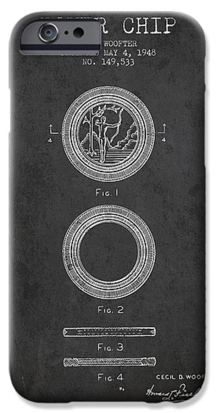 Chip iPhone Cases - Poker Chip Patent from 1948 - Charcoal iPhone Case by Aged Pixel