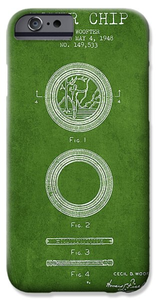Chip iPhone Cases - Poker Chip Patent from 1948 - Green iPhone Case by Aged Pixel