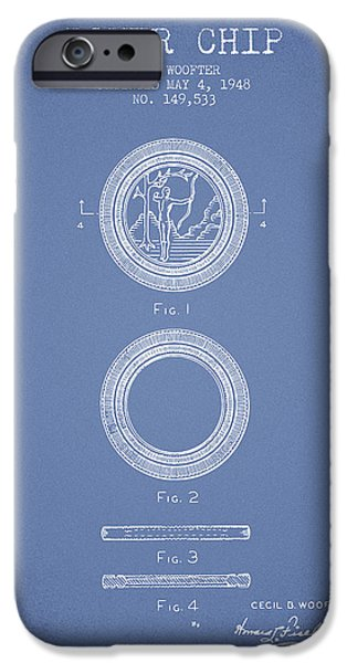 Chip iPhone Cases - Poker Chip Patent from 1948 - Light Blue iPhone Case by Aged Pixel