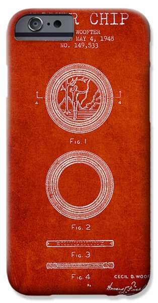 Chip iPhone Cases - Poker Chip Patent from 1948 - Red iPhone Case by Aged Pixel