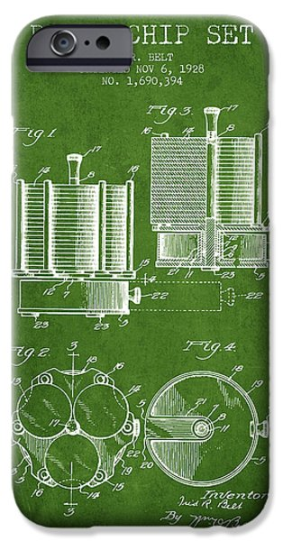 Chip iPhone Cases - Poker Chip Set Patent from 1928 - Green iPhone Case by Aged Pixel