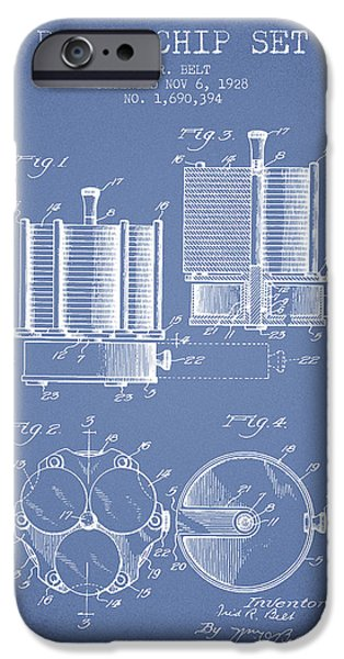 Chip iPhone Cases - Poker Chip Set Patent from 1928 - Light Blue iPhone Case by Aged Pixel