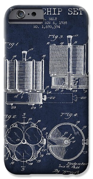 Chip iPhone Cases - Poker Chip Set Patent from 1928 - Navy Blue iPhone Case by Aged Pixel