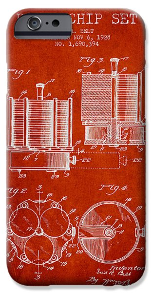 Chip iPhone Cases - Poker Chip Set Patent from 1928 - Red iPhone Case by Aged Pixel