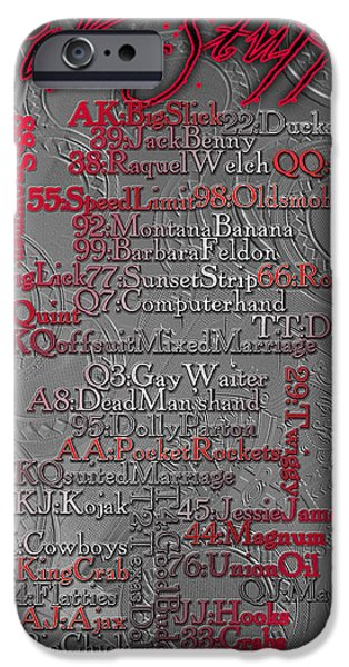 Chip Mixed Media iPhone Cases - Poker Stuff - Slang Names for Poker Hands iPhone Case by Maria Eames