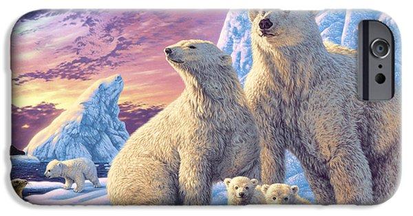 Bear Cub iPhone Cases - Polar Bear Family iPhone Case by Steve Read