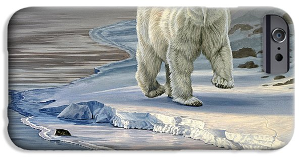 River iPhone Cases - Polar Bear on Icy Shore    iPhone Case by Paul Krapf