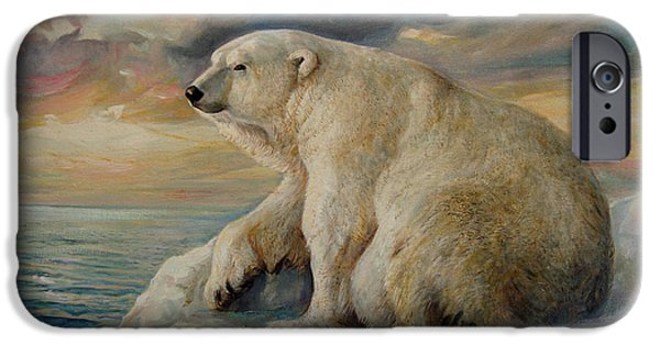 Sun Rays Paintings iPhone Cases - Polar Bear rests on the ice. iPhone Case by Svitozar Nenyuk