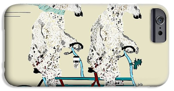 Posters On Mixed Media iPhone Cases - Polar Bears Lets Tandem  iPhone Case by Bri Buckley
