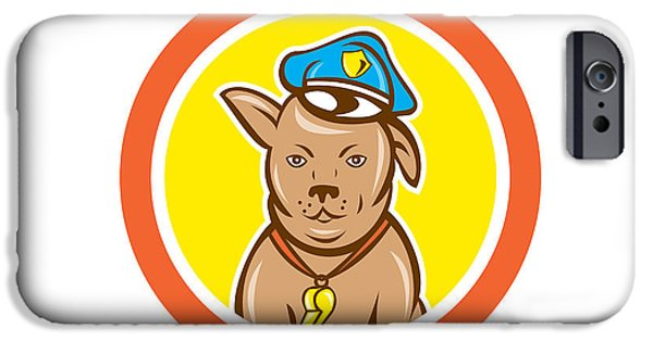 Police Dog iPhone Cases - Police Dog Canine Circle Cartoon iPhone Case by Aloysius Patrimonio
