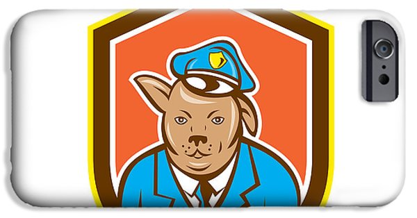 Police iPhone Cases - Police Dog Canine Shield Cartoon iPhone Case by Aloysius Patrimonio