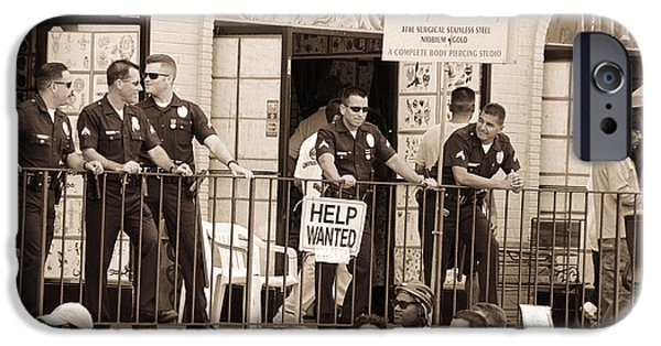 Policeman iPhone Cases - Police Gathered Behind A Help Wanted Sign, 2004 Bw Photo iPhone Case by Stephen Spiller