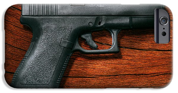 Police Art iPhone Cases - Police - Gun - The modern gun  iPhone Case by Mike Savad