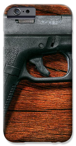 Police - Gun - The modern gun  iPhone Case by Mike Savad