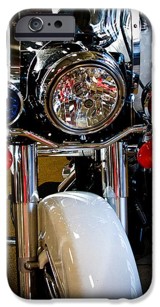 Police Cruiser iPhone Cases - Police Harley iPhone Case by David Patterson