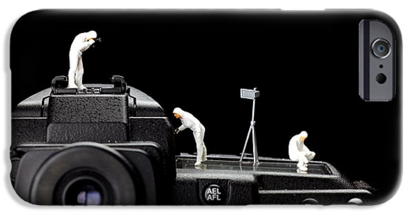 Police Digital iPhone Cases - Police investigate on a camera iPhone Case by Paul Ge