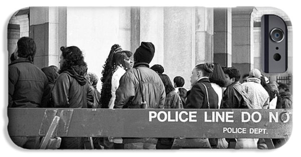 Police Art Photographs iPhone Cases - Police Line 1990s iPhone Case by John Rizzuto