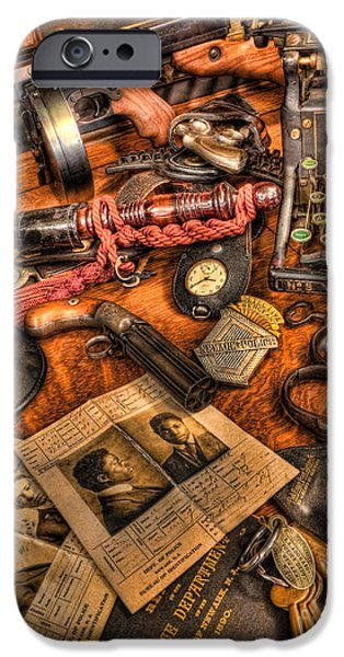 Law Enforcement Art iPhone Cases - Police Officer- The Detectives Desk II iPhone Case by Lee Dos Santos