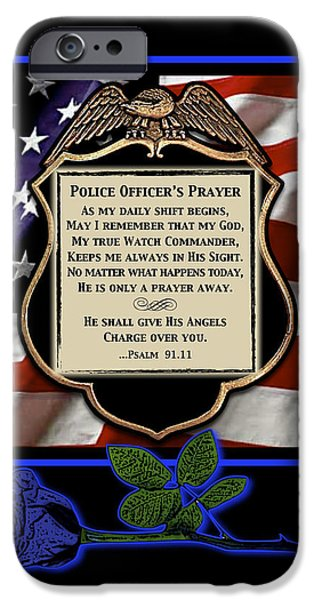 Recently Sold -  - Police Officer iPhone Cases - Police Officers Prayer iPhone Case by Rose Borisow
