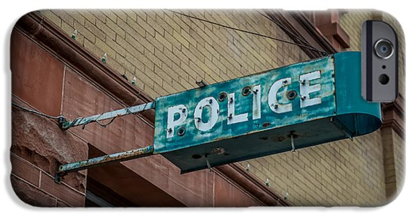 Law Enforcement Art iPhone Cases - Police Station Sign iPhone Case by Paul Freidlund