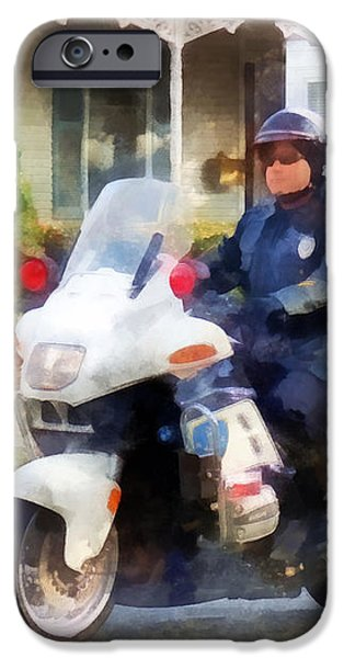 Police - Suburban Motorcycle Cop iPhone Case by Susan Savad