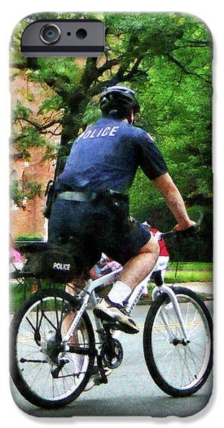 Police Patrol Law Enforcement iPhone Cases - Policeman - Police Bicycle Patrol iPhone Case by Susan Savad