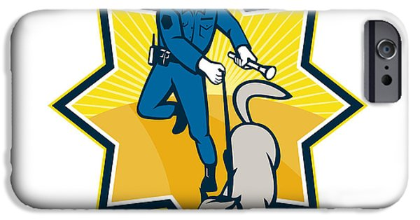 Police Dog iPhone Cases - Policeman Police Dog Canine Team iPhone Case by Aloysius Patrimonio