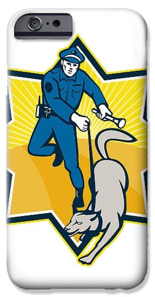 Policeman Police Dog Canine Team iPhone Case by Aloysius Patrimonio