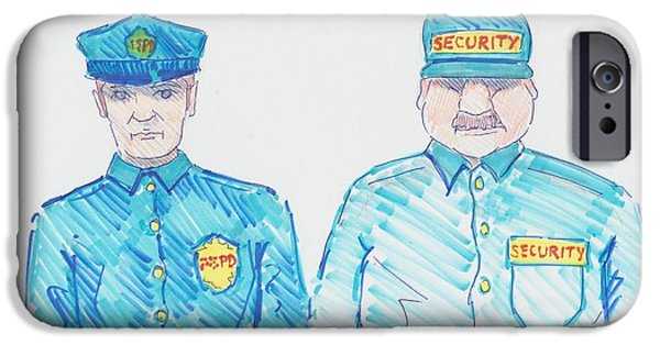Police Art Drawings iPhone Cases - Policeman Security Guard Cartoon iPhone Case by Mike Jory
