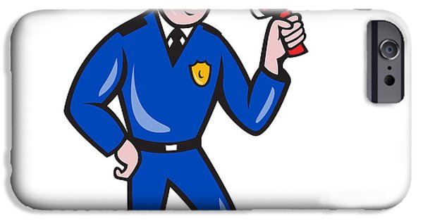 Police Officer iPhone Cases - Policeman Shouting Bullhorn Isolated Cartoon iPhone Case by Aloysius Patrimonio