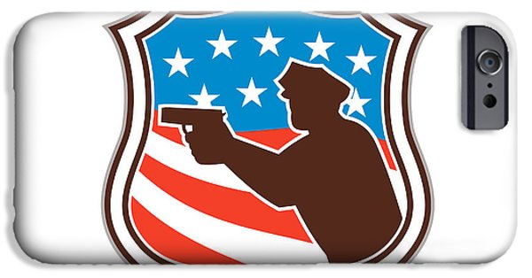 Policeman iPhone Cases - Policeman Silhouette Pointing Gun Flag Shield Retro iPhone Case by Aloysius Patrimonio