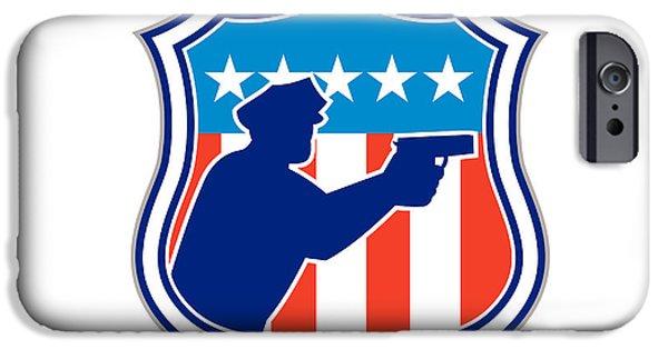 Policeman iPhone Cases - Policeman Silhouette With Gun Flag Shield Retro iPhone Case by Aloysius Patrimonio