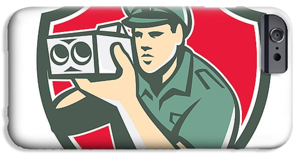 Police Officer iPhone Cases - Policeman Speed Camera Shield Retro iPhone Case by Aloysius Patrimonio