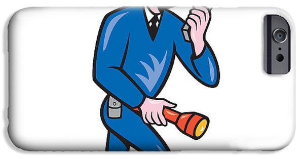 Policeman iPhone Cases - Policeman Torch Radio Cartoon iPhone Case by Aloysius Patrimonio