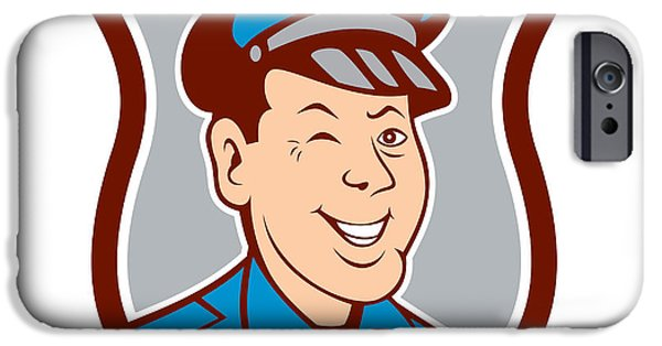 Police Officer iPhone Cases - Policeman Winking Smiling Shield Cartoon iPhone Case by Aloysius Patrimonio