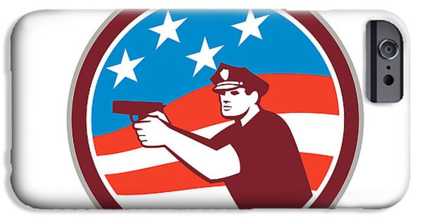 Police Officer iPhone Cases - Policeman With Gun American Flag Circle Retro iPhone Case by Aloysius Patrimonio