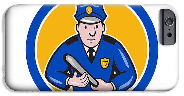 Policeman iPhone Cases - Policeman With Night Stick Baton Circle iPhone Case by Aloysius Patrimonio