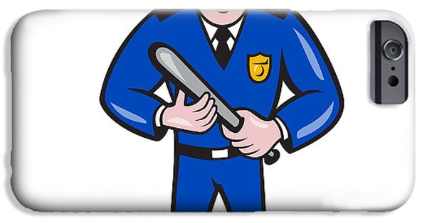 Police iPhone Cases - Policeman With Night Stick Baton Standing iPhone Case by Aloysius Patrimonio