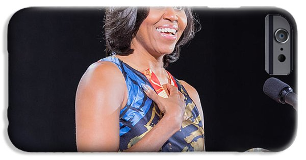 Michelle Obama Photographs iPhone Cases - Political Ralley iPhone Case by Ava Reaves