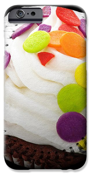 Polka Dot Cupcake Baseball Square iPhone Case by Andee Design