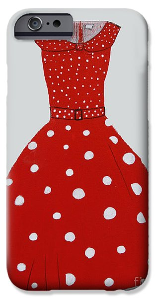 Dressing Room Paintings iPhone Cases - Polka Dotted Red Dress iPhone Case by Robin Maria  Pedrero