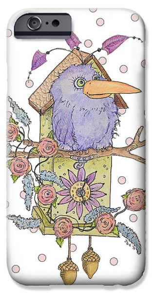 Cuckoo iPhone Cases - Polkadot Cuckoo  iPhone Case by Jennifer Geldard